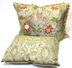 Four silk damask pillows, one tapestry pillow, table cover and throw