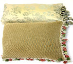 Five silk damask pillows, two runners and a table cover