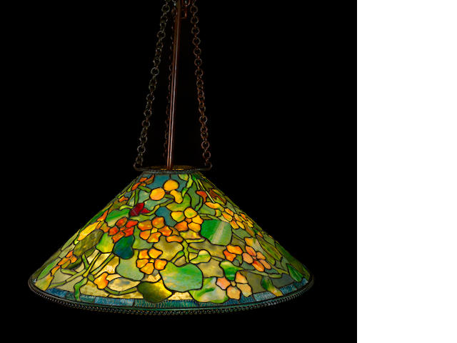 A Tiffany Studios Favrile glass and patinated bronze Nasturtium chandelier 1899-1918