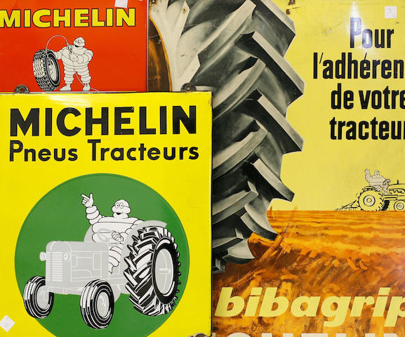 A lot of three Michelin tractor tire signs,