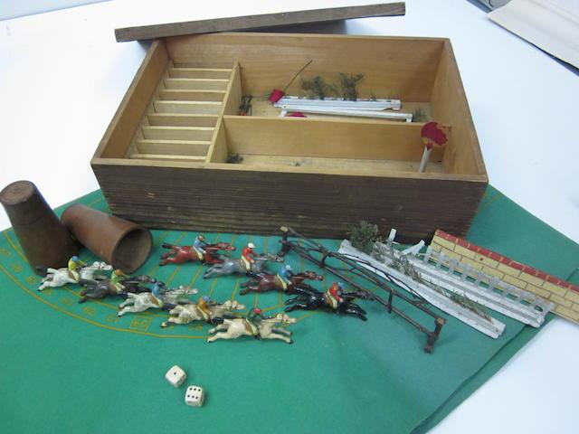 A vintage steeplechase game set,
