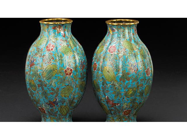 A pair of melon form cloisonné vases 19th century