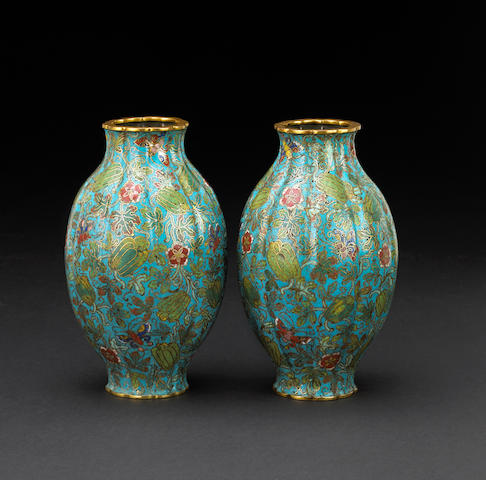 A pair of melon form cloisonné vases 19th century