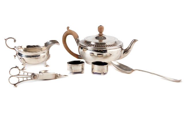 An assembled group of Georgian sterling silver  hollowware and accessories  by various makers, London,  late 18th / early 19th century