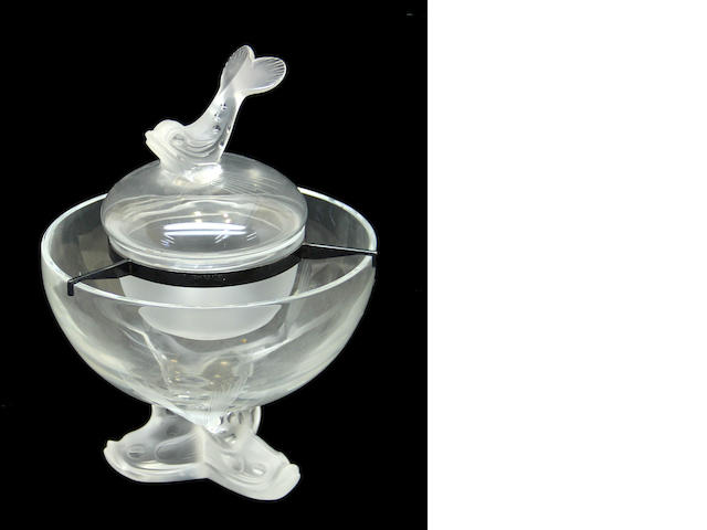 A Lalique glass caviar dish in the Igor pattern