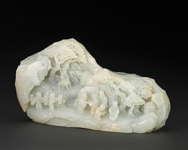 A large white jade landscape boulder