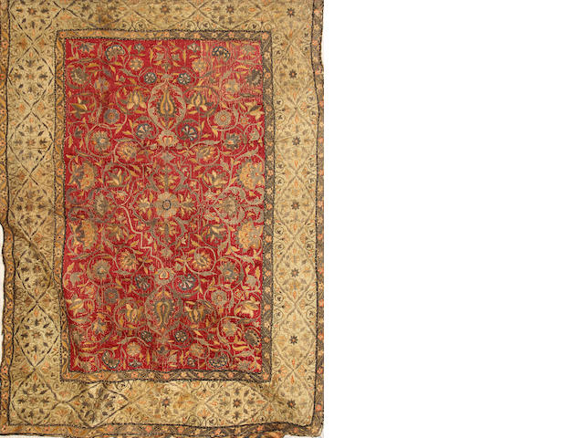 An Islamic metal thread embroidered silk embroidered panel probably Persia<BR />18th century