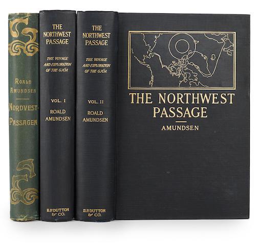 AMUNDSEN, ROALD. 1872-1928. 1. Nordvest-Passagen. Beretning om Gjoa-Ekspeditionen 1903-1907. Oslo: Aschehoug, 1907.
