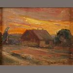 Franz Bischoff, House with a sunset beyond, oil, signed