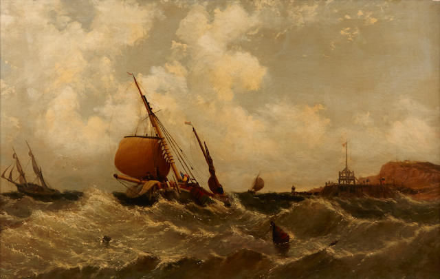 English School, 19th Century Shipping offshore in a rough swell 23 x 35 3/4in