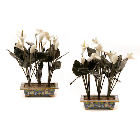 A pair of Chinese hardstone lilies on cloisonné bases