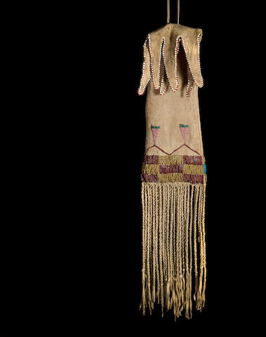 An Arapaho beaded tobacco bag