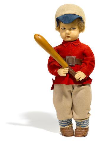 A Lenci felt doll of a baseball player
