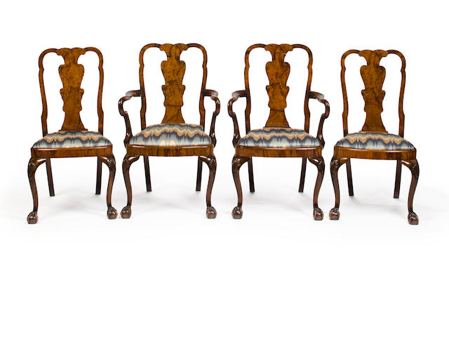 A set of eight George II burlwood veneered chairs, mid-18th century