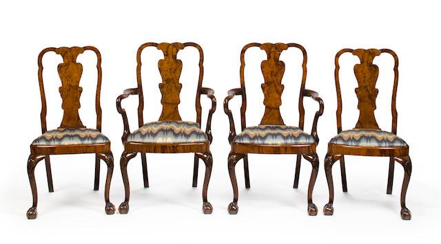 A set of eight George II burlwood veneered chairs, mid-18th century