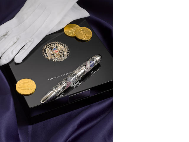 MONTBLANC: George W. Bush Skeleton Flag Fountain Pen: 1/1