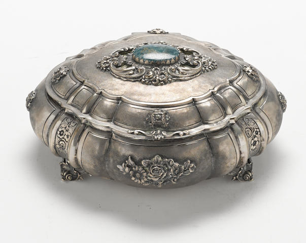An Italian stone-inset 800 standard silver oval floral-decorated table box by Fassi Arno, Milan; retailed by A. Giacche 20th century
