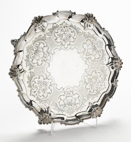 A Victorian  sterling silver  footed salver by Walter & John Barnard, London,  1894