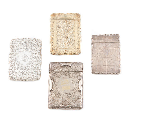 An assembled group of four Victorian / Edwardian  sterling silver and silver gilt  card cases  by various makers, Birmingham,  19th / early 20th century