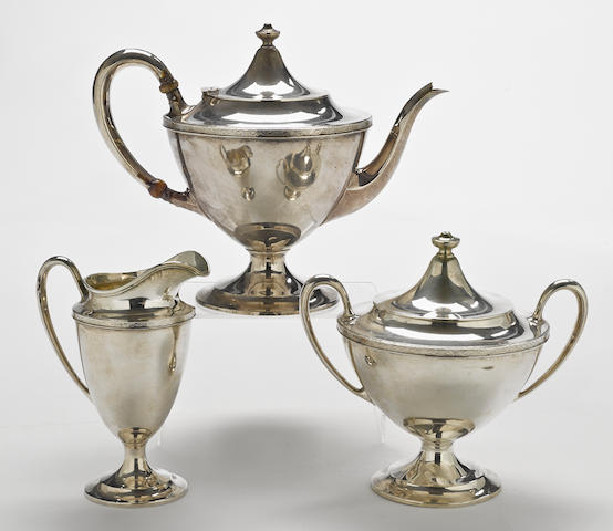 An American  sterling silver three piece tea service by R. Wallace & Sons Mfg. Co., Wallingford, CT,  early 20th century