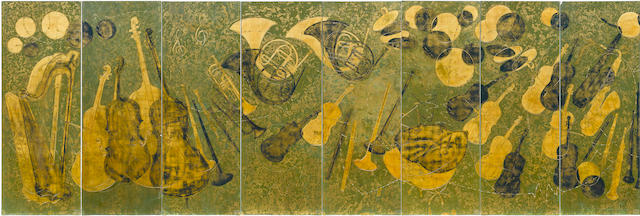 A suite of eight Pierre Bobot lacquered and gold leaf panels from the Roseland Ballroom, New York, circa 1947