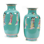 A large pair of Chinese polychrome decorated vases