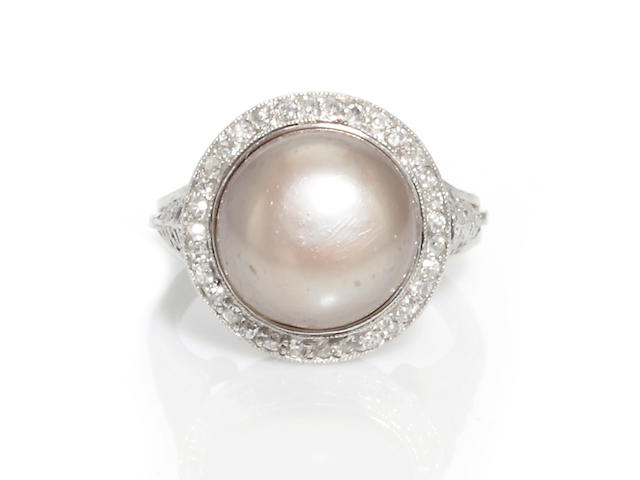 A colored cultured pearl and diamond ring, Tiffany & Co.