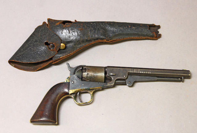 A Manhattan Series V Navy model percussion revolver with holster -Select US Arms Type-
