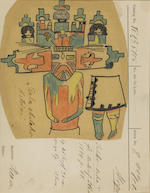Five early 20th century Museum für Völkerkunde, Berlin, inventory cards with depictions of Hopi kachina dolls