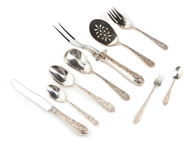 An assembled American  sterling silver  floral-repousse-decorated flatware service for twelve by Alvin Corp., Providence, RI,  second quarter 20th century