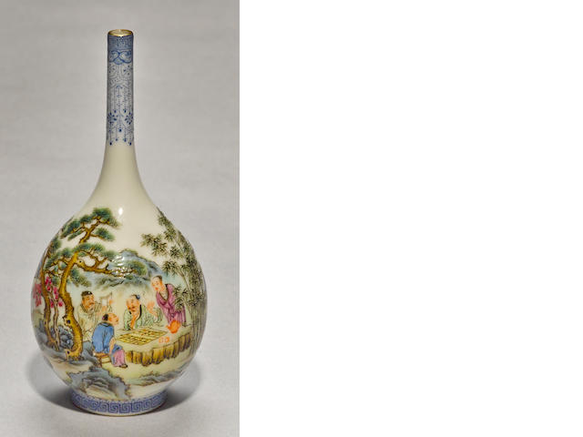 A miniature famille rose enameled porcelain bottle vase 20th century