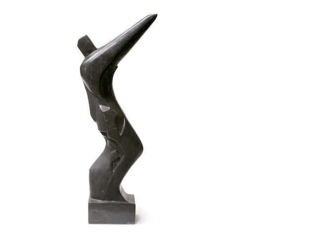 An Art Deco style black marble figure of an athlete