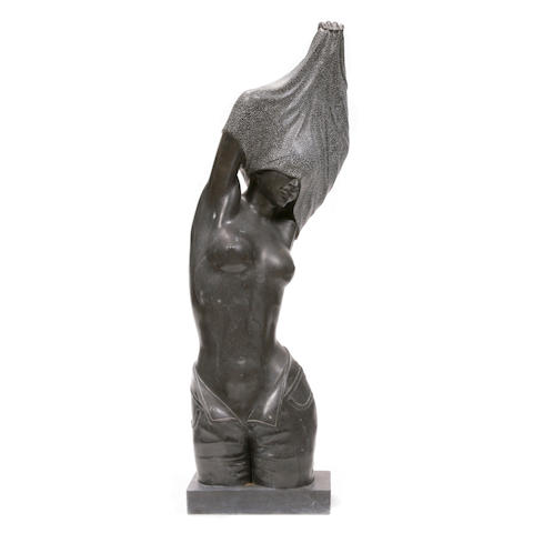 A Contemporary carved marble figure of a woman