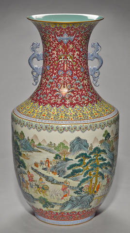 A massive famille rose enameled porcelain vase Qianlong mark