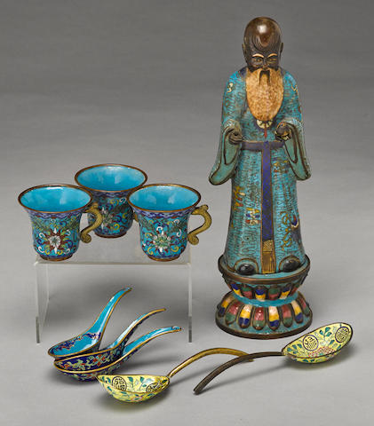 A group of cloisonne and enameled metal decorations Late Qing/Republic period