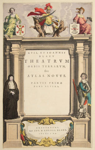 ATLAS TITLES. A group of 28 engraved allegorical title pages (9 hand-colored) from various atlases, most 17th or 18th century, including: