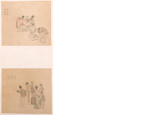 Three hanging scrolls of figures, one Jiang Qia, two anonymous