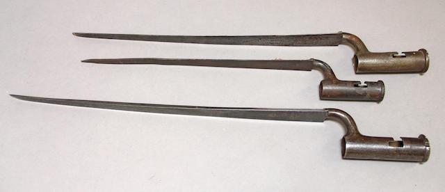 A lot of three marked British Revolutionary War socket bayonets -Select US Arms Type-