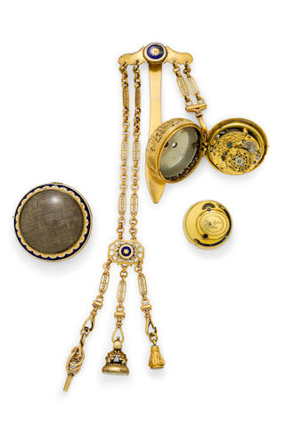 Geo. Tyler, London. A gold quarter repeating verge watch with later enameled gilt metal outer case and chatelaine.The movement and inner case first quarter 18th century, the outer case and chatelaine last quarter 18th century