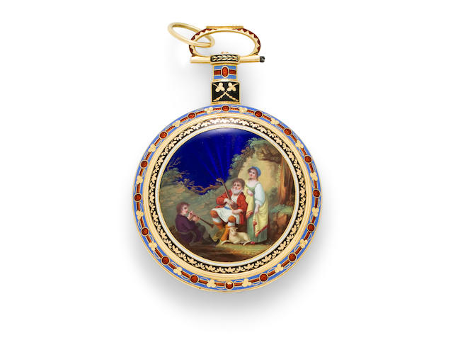 An antique enamel decorated watch