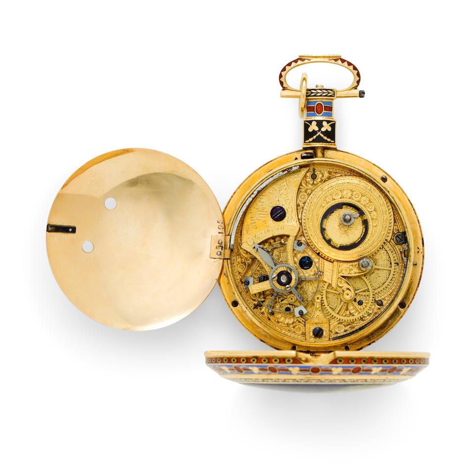 Ilbery, London. A fine enameled gold duplex watch for the Chinese marketNo. 6195, first quarter 19th century