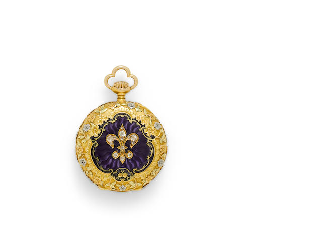 Vacheron & Constantin. A very fine 18K vari colored gold enameled and gem-set fob watchMovement no. 305966, case no. 18406, circa 1910