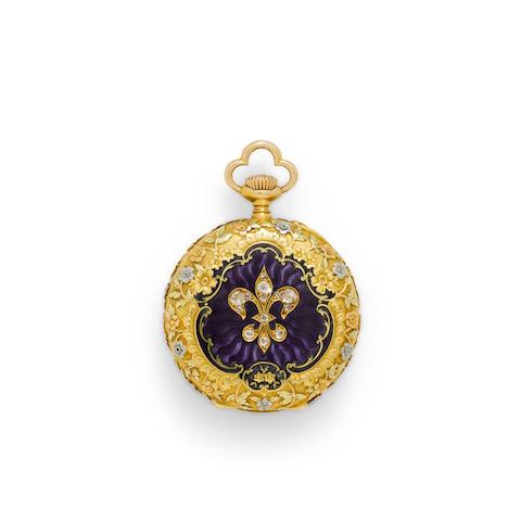 Vacheron & Constantin. A very fine 18K vari colored gold enameled and gem-set fob watchMovement no. 305966, case no. 18406, circa 1910