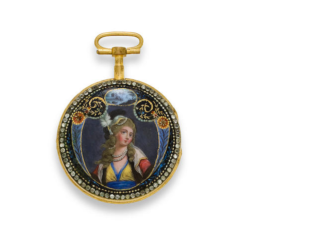 An enameled gilt open face cylinder watchLate 18th century