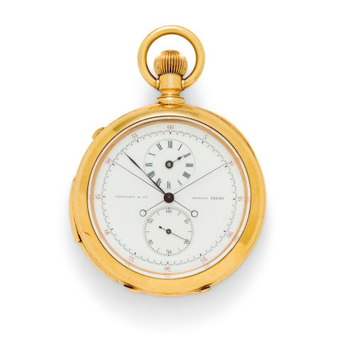 """Tiffany & Co., Geneva. A rare and very fine 18K gold open face five minute repeating split second chronograph with regulator dialNo. 14990, case inscribed """"Weihnachten 1878"""""""