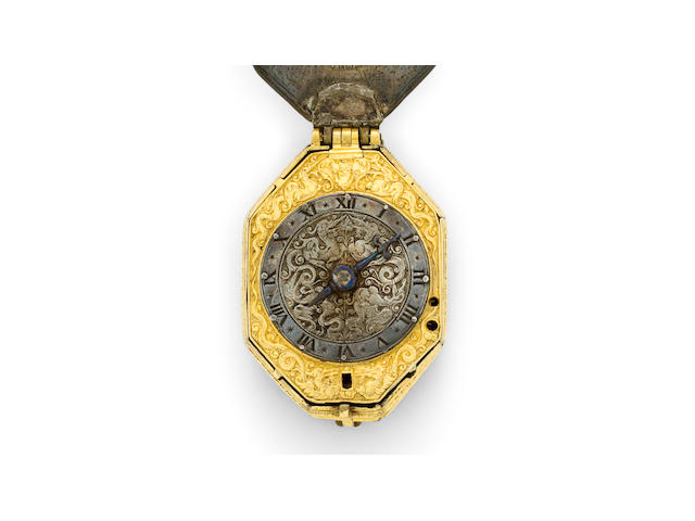 Isaake Symmes, London. A remarkable silver and gilt early English verge watchCirca 1620, engraved with the spurious date 1536.