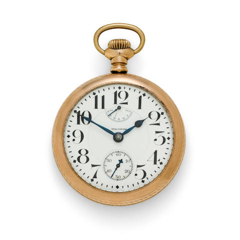 Waltham. A fine gold filled railroad watch with winding indicatorVanguard, No. 17077342, circa 1910