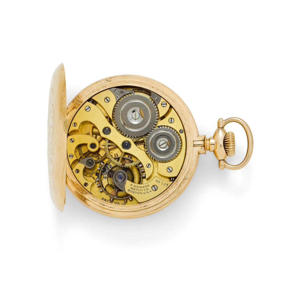 E. Howard Watch Co., Boston. A rare 14K gold open face watchEdward Howard, No. 124