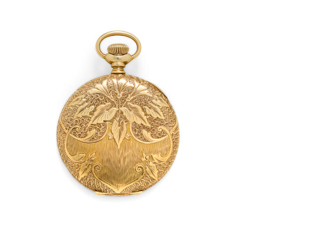 E Howard & Co., Boston. A fine 14K chased and engraved gold hunter cased watchSeries XI, no. 601101, case by Keystone, circa 1904