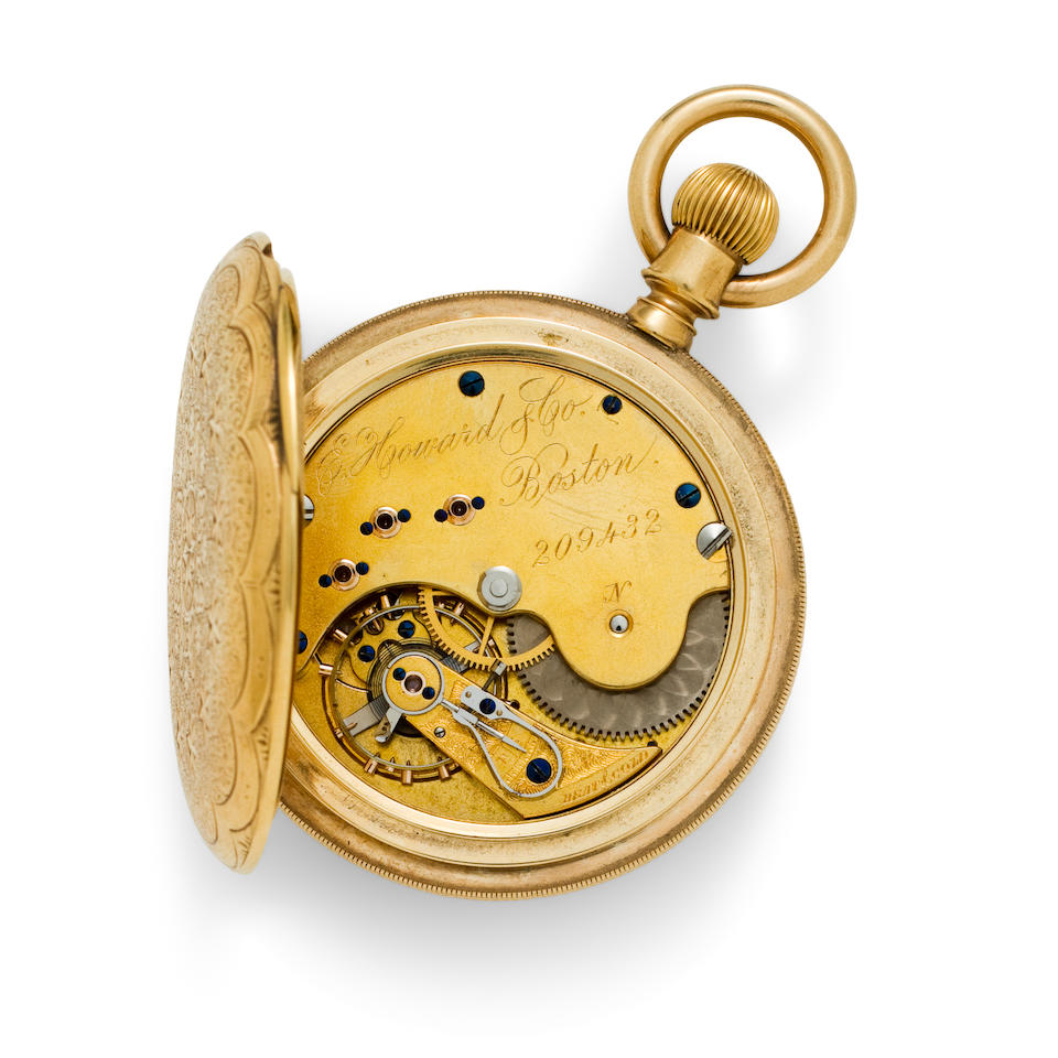 E. Howard & Co., Boston. An 18K chased and engraved gold hunter cased watchSeries VII, No. 209432, case marked B & Co., 1880's